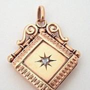 Victorian 9c Fob Locket ~ Rose Cut Diamond