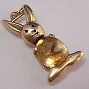 14K Gold Vintage Charm ~ Rabbit w/ Gemstone Belly