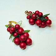 Green Leaf and Red Cranberries Dangle Clip Earrings