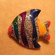 Colorful Stripped Fish Pin Ca. 1980's