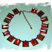 "Copper Red Enamel Choker and Earring Set ""Chile"" Signed Matisse"
