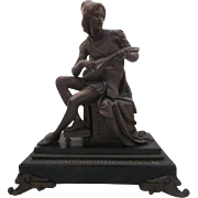 Large Antique French Cast Metal Statue of Man Playing Lute