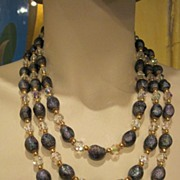 Triple Strand Crystal and Iridescent Lava Stone Necklace