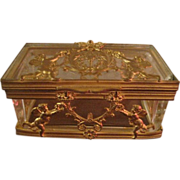19th Century French Dore Bronze and Glass Box Casket Trinket Box
