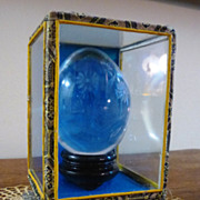 REDUCED Etched Crystal Egg in Boxed Display Stand