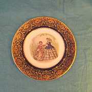 Salem China Godey Fashion Cabinet Plate! 23 Karat Gold Trim~ Made In USA!