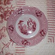 "1848 Ironstone Plate J. Meir & Son 'Roselle"" Pattern Red Transferware 8.5"""