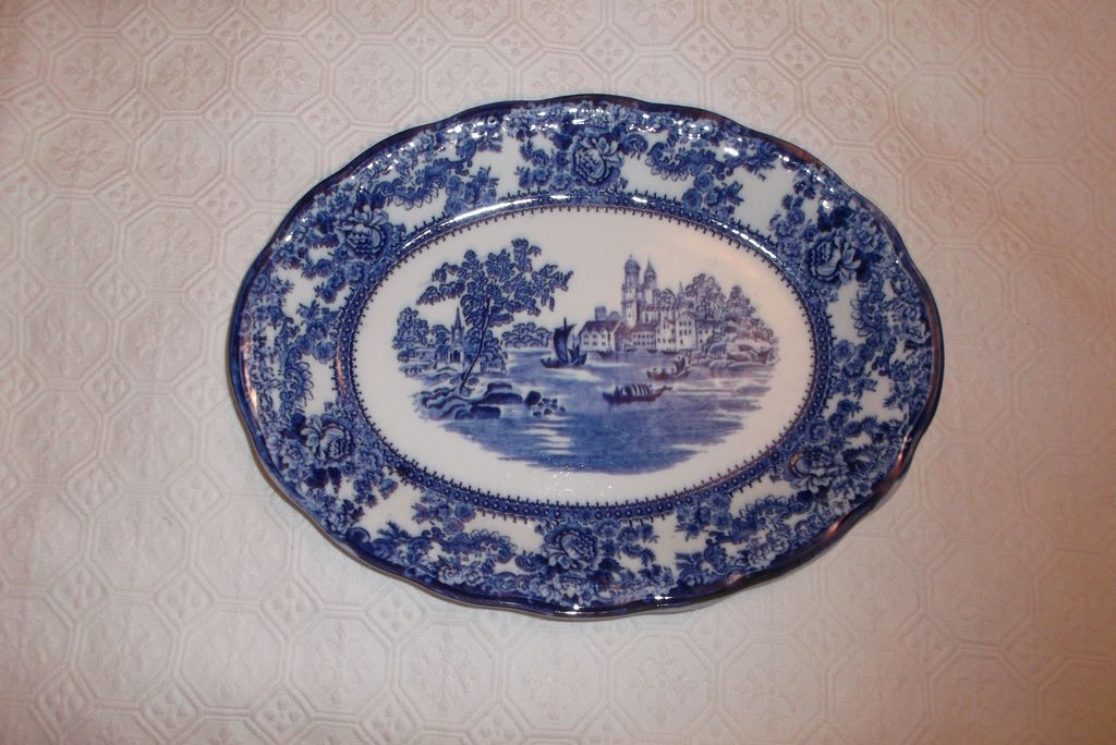 """Flow Blue """"Togo"""" 12""""  Platter J. Winkle & Co. Colonial Pottery 1890-1925 Stokes-On-Trent"""