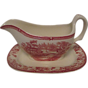 Vintage Clarice Cliff Tonquin Gravy Boat  Red Royal Staffordshire