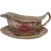 Vintage Johnson Brothers Rose Chintz Gravy Boat and Underplate