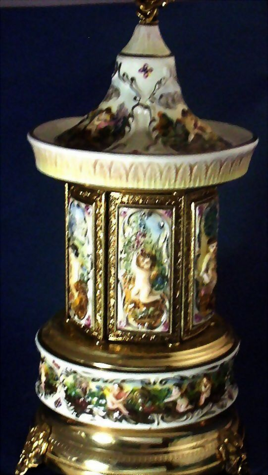 Exquisite Hand-Paint Revolving Musical Automated Cigarette Dispenser, Carousel ~ From Italy & Reuge Movement