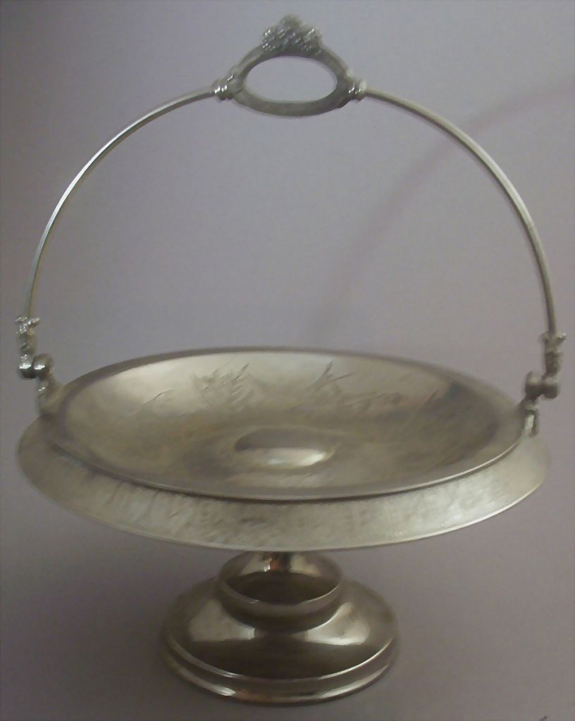 Antique Victorian Quadruple Silver-Plated Pedestal Bride's Basket (Cake Stand) -- Engraved Swallows & Flowers