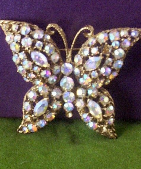 Large Dazzling Crystal Prong-Set Butterfly Brooch