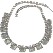 Vintage Prong-Set Faceted Glass & Rhinestone Collar Necklace