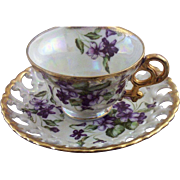 Vintage Royal Sealey Lusterware & Violets Teacup & Reticulated Saucer