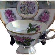 Vintage Paneled-Roses & Gold-Stamped  Lusterware Teacup & Saucer Set