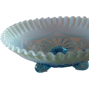 Vintage Fenton Art Glass Opalescent Blue Crimped & Draped 3-Footed Bowl