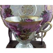 Vintage Royal Halsey Very Fine Exotic Pink Orchids Teacup & Saucer Set
