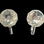 Vintage Faceted Clear Crystal Earrings