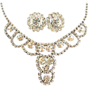 Vintage 1950s clear rhinestone necklace and earring set, scallop design, rhodium plating
