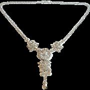 Ralph DeRosa Vintage Sterling 1940s Clear Rhinestone Pendant Necklace
