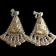Vintage Big Buddha Asian Motif Dangle Earrings
