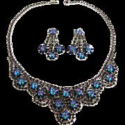 Juliana Amethyst Purple Margarita Bib Necklace and Earring Set