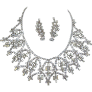Fabulous Clear Baguette Rhinestone Necklace and Earrings
