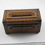 Exceptional Folk Art Inlaid Jewelry Box c 1880