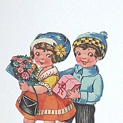 Antique Valentine Couple Ephemera..Girl With Flowers / Boy With Pink Box..Die-Cut..Embossed..Germany