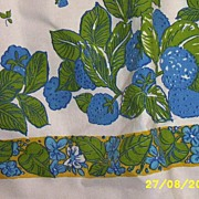 Cotton Pique Apron With Blue Flowers And Butterfly On Whte Ground