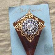 Vintage...Art Deco Style Collage Pins..Tortoise Colored Plastic.. Elongated Diamond & Gold Tone Filigree & Aurora Borealis Button