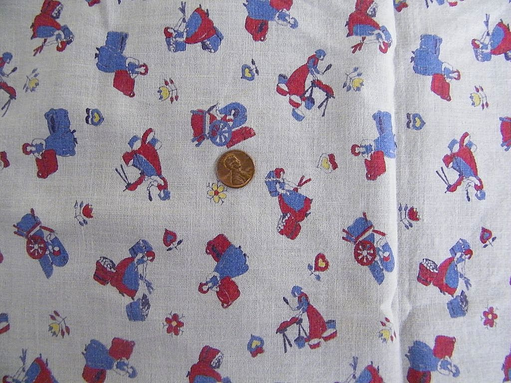 """Vintage 1930's Childs Cover / Sheet / Bedspread or Tablecloth..Pioneer Print Women's Chores..46"""" Square"""