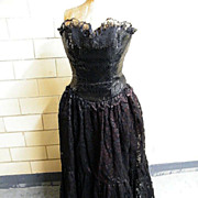 Black Lace Strapless Evening Gown With Sequin Bodice.. Size 12