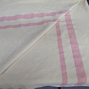"""Camp / Trade Wool Blanket Off White..2 Pink Stripes..66"""" x 74..Twin"""