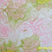 "Vintage Feed Sack Cotton Blanket Cover With Pastel Pink & Yellow Roses On A Green Ground...63"" X 86"""