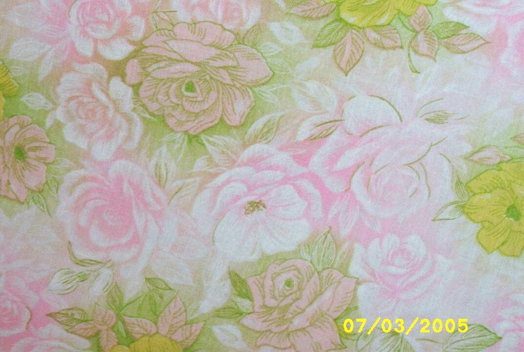 """Vintage Feed Sack Cotton Blanket Cover With Pastel Pink & Yellow Roses On A Green Ground...63"""" X 86"""""""