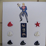 UNCLE SAM Collector Button Card With Rhinestone USA Buttons..Plus Hat..& Sailboats.. Anchor..A