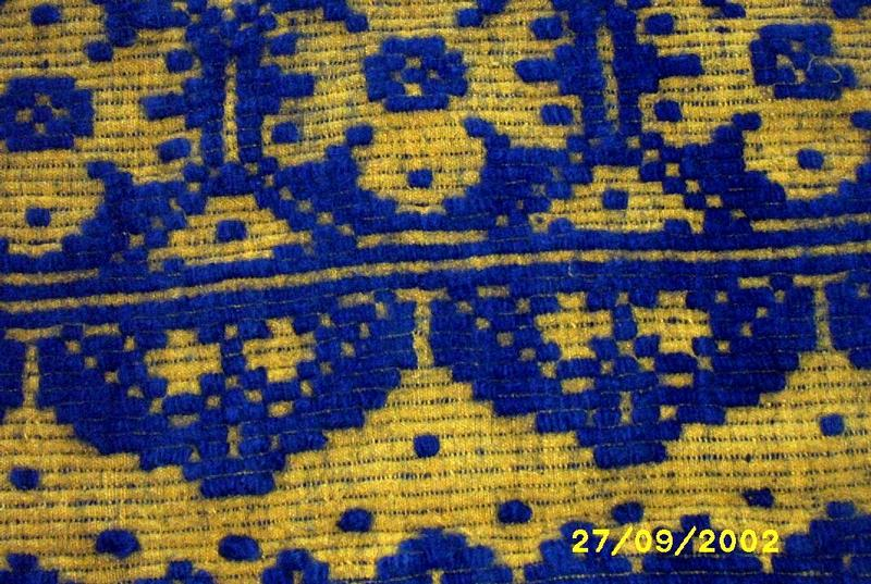 Hand Woven Wool And Linen Floral  Throw In Blue And Gold