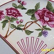 Plum Rose Decorative Fan Porcelain Dish By Taste Setter Japan