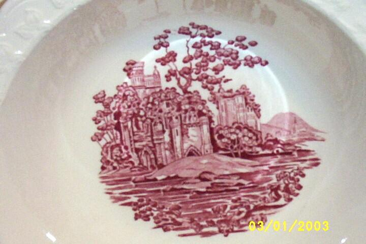 """Taylor, Smith, Taylor Round Off-White Vegetable Bowl [9""""] In Pink Castle Pattern"""
