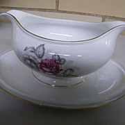 Rosenthal China GRAY DAWN Gravy Boat With Attached Underplate..Excellent Condition