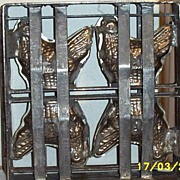 Vintage Chocolate Mold..4 Hens In Pewter Frame..Great Display Piece!