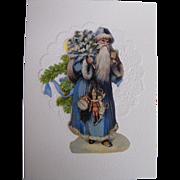 Santa In Long Blue Robe & Hood Carrying Tree & Toys..Christmas Card Collage..Die Cut Scraps..Germany