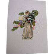 Father Christmas In White Robe Holding Tree..Christmas Collage Card..Vintage Scraps..Germany
