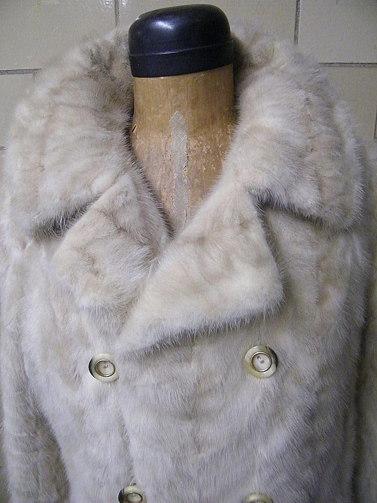 1960's Champagne Mink Coat..Double Breasted..Leaf's Paris, New York..Margaret L