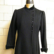 CENTRAL PARK Black Princess Style Coat..Velvet Trim..1960's-70's..USA