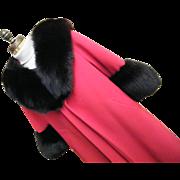 SALE Red..Lush Black Fox Trimmed Red Textured Wool Plus Wool Lining... Lilli Ann Coat