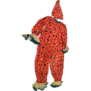 Child's Clown Costume..Halloween..Orange With Green & Gold Dots..Cotton Percale..Organdy Trim..1930-40's