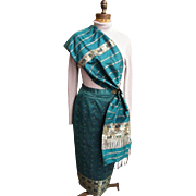 East Indian Green With Gold Metallic Accents Thai Silk Long Straight Skirt & Matching Shawl